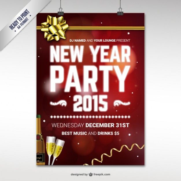 CMYK New Year party poster template Places to Visit Pinterest - new year poster template