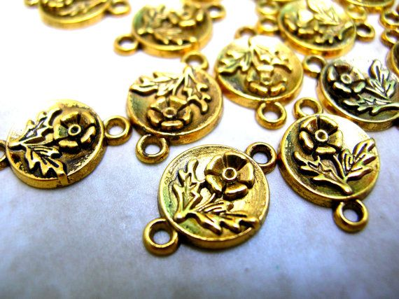 clearance 20 jewelry connectors gold tone connectors flower