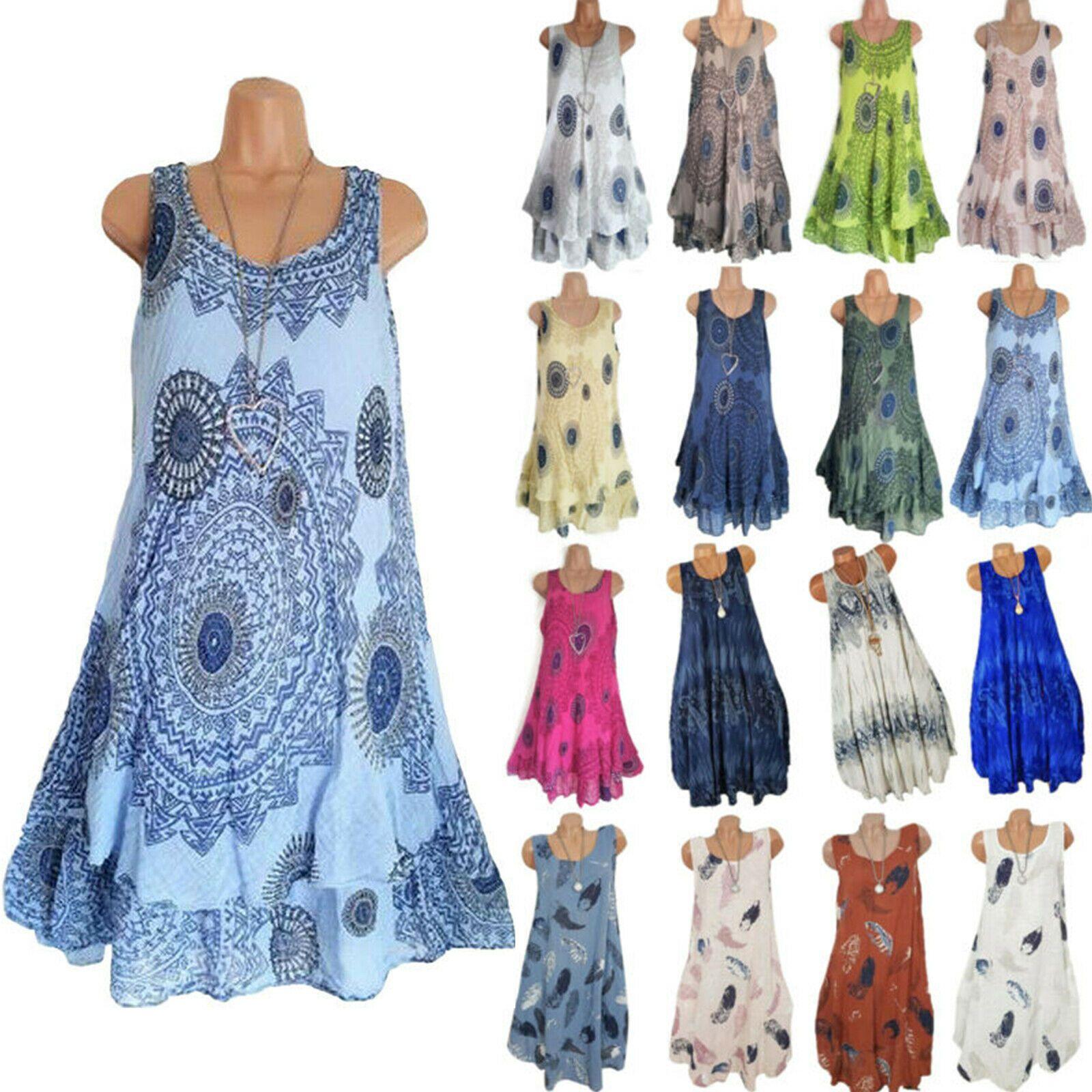 Damen Blumen Boho Sommer Strandkleid Partykleid Tunika Freizeitkleid Minikleid