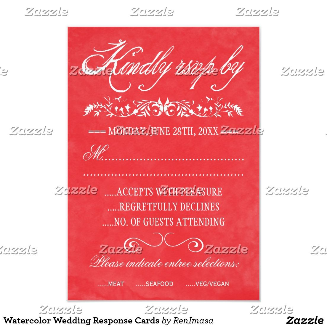 Watercolor Wedding Response Cards | RSVP Wedding Cards | Pinterest ...