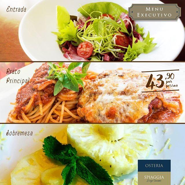 Feriadinho no meio da semana e nada mais justo do que aproveitar uma deliciosa refeição como esse trio de sucesso da#OsteriaSpiaggia. Mix de folhas, zucchini e tomatinhos frescos + Polpetone com espaguete ao ragu + Fruta fresca. Ficou com água na boca, né?! Estamos funcionando hoje (feriado) no almoço e no jantar. Informações e reservas: (27) 3019-7370🍴🍷👌 #MenuExecutivo #almoço #food #instafood #foodporn #gourmet #chefsergioquaresma #lunch #lunchtime #gastronomia #gastronomy #foodie…