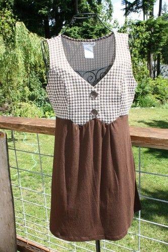 Rocker Girl Juniors Size Medium Brown Dress Herringbone Print