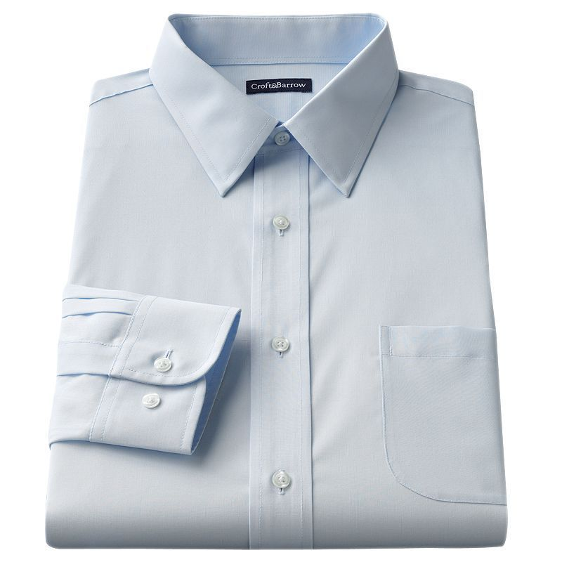 Croft /& Barrow Essentials Men Classic-Fit Easy Care Point-Collar Dress Shirt Red