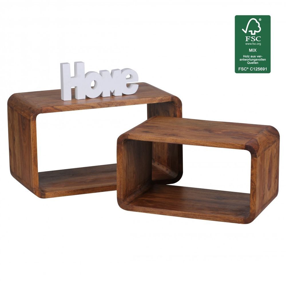 Wohnling Sheesham Solid Wood Nesting Tables Side Table Set Of 2 Cubes Cube Shelf Wohnling Modern Wood Nesting Tables Nesting Tables Cube Shelves