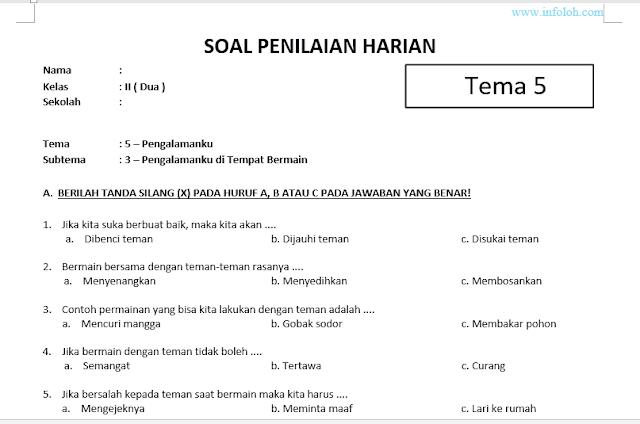 Pin Di Soal Tematik Kelas 2 Sd Tema 5 Subtema 3 Kurikulum 2013 Pengalaman Di Tempat Bermain Dan Kunci Jawaban