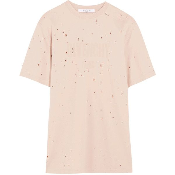 Givenchy Distressed T-shirt in pastel-pink cotton-jersey ($555 ...