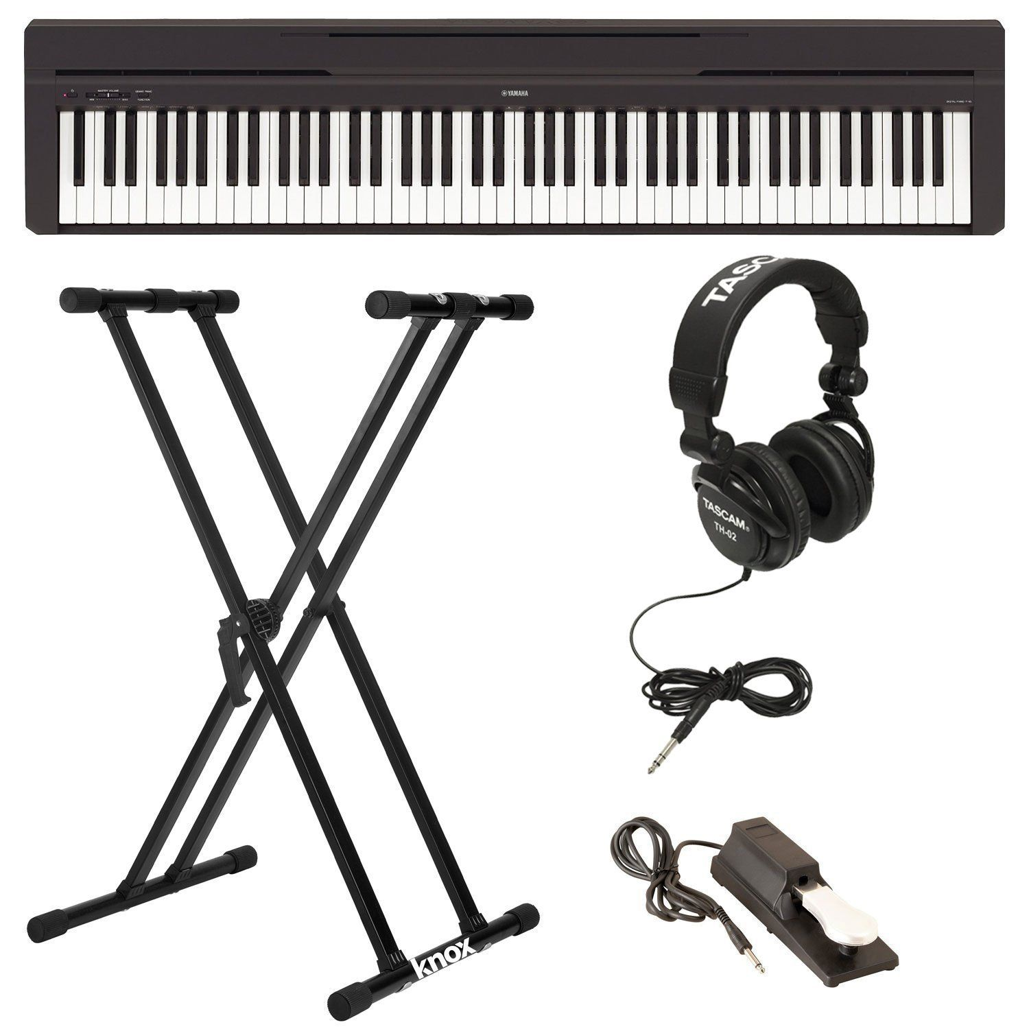 Yamaha P45b Digital Piano With Knox Double X Keyboard Stand Full Size Headphones And Sustain Pedal By Yam Sustain Pedals Digital Piano Best Digital Piano