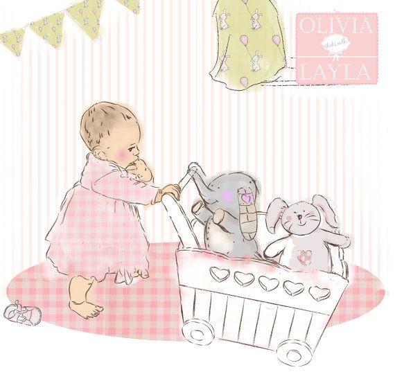 """""""Olivia pushes her Toys"""" Kinderzimmer kunst, Kinder"""