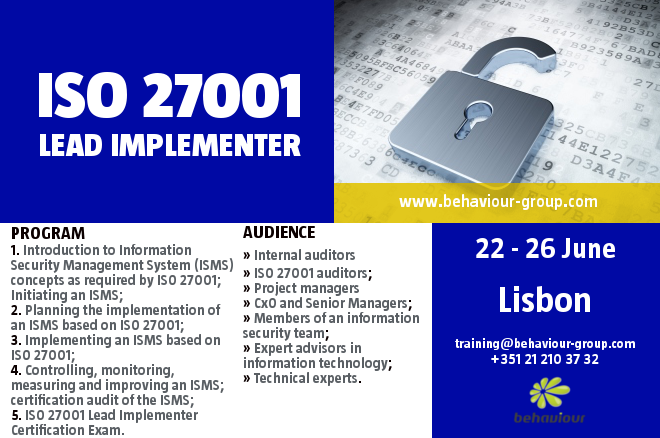 ISO 27001 Lead Implementer Course. REGISTER ONLINE.Master the implementation and management of an Information Security Management System (ISMS) based on ISO 27001:2013.