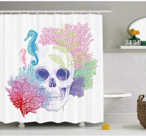 East Urban Home Halloween Wild Skull Skeletons Ocean Seahorse Shower Curtain Homedecor Skull Skulls Skull Shower Curtain Shower Curtain Hooks Shower Curtain