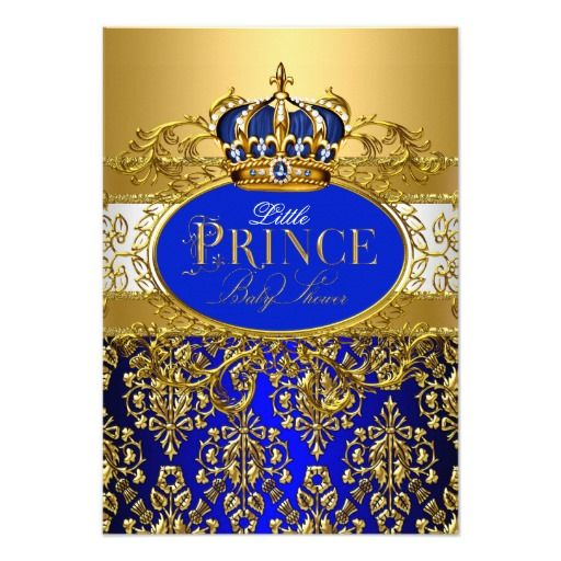 royal blue little prince crown baby shower invite | babies, crowns, Baby shower invitations