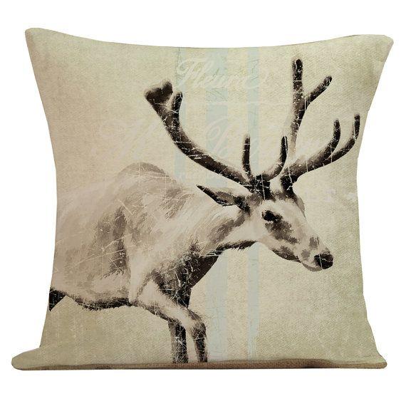 Winter Caribou Christmas pillow, such an elegant design. Christmas Pillow Winter Caribou Brown by ElliottHeathDesigns