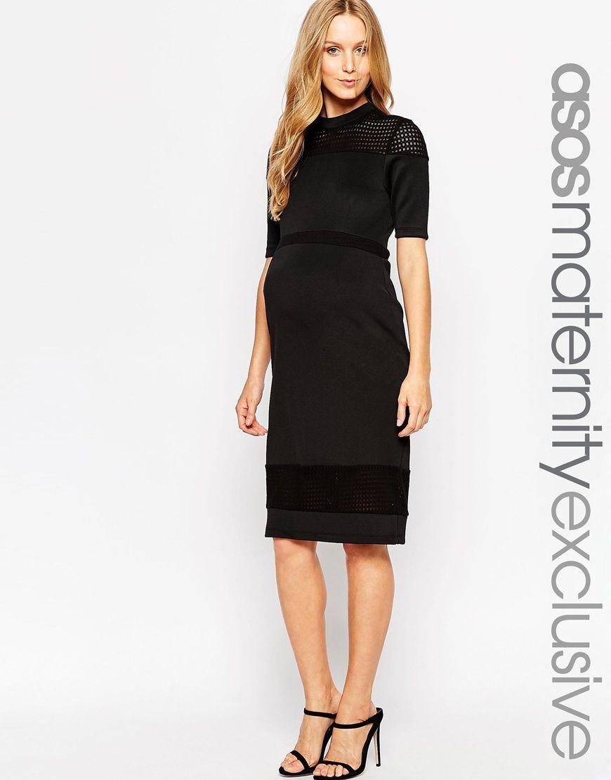 4cb44c6a52b2b ASOS Maternity Scuba Bodycon Dress With Textured Insert | Maternity ...