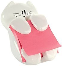 Post-it Pop-up Note Dispenser, 3 in x 3 in, Cat Figure, Office Sticky Notes New