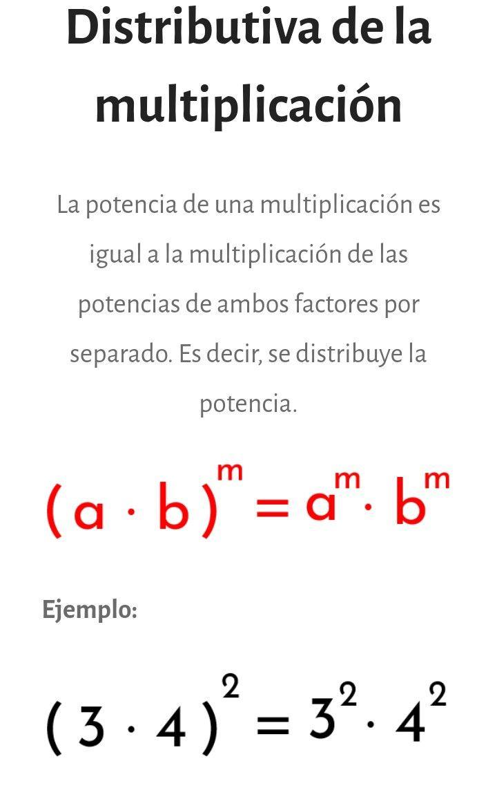 Potenciación Propiedad Distributiva De La Multiplicación Matematicas Avanzadas Educacion Matematicas Cursos De Matematicas
