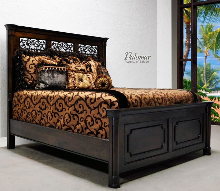 Tuscan style bed with high headboard rustic mediterranean for Looking bedroom furniture