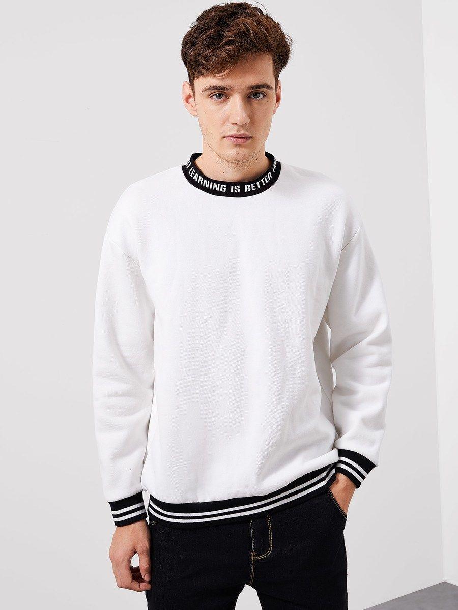 Men Striped Hem Letter Pullover Shein Sheinside Pullover Mens Sweatshirts Sweatshirts Hoodie [ 1199 x 900 Pixel ]