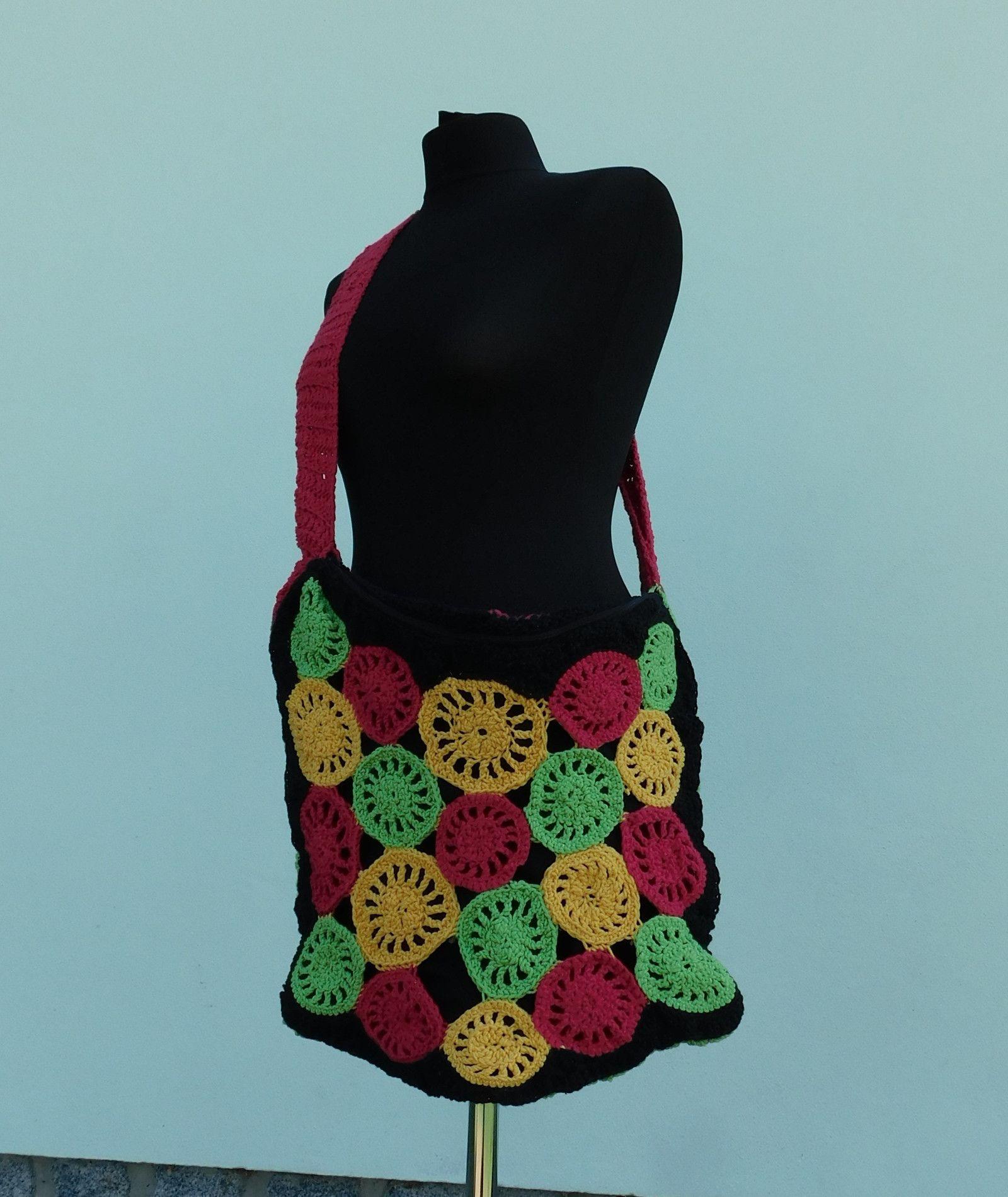 21b068a7e2 háčkovaná+taška-+hippie+Bláznivá+petrobarevná+háčkovaná+taška+přes+ ...