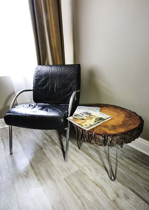 tree slice with bark coffee table, or side table | tree slices