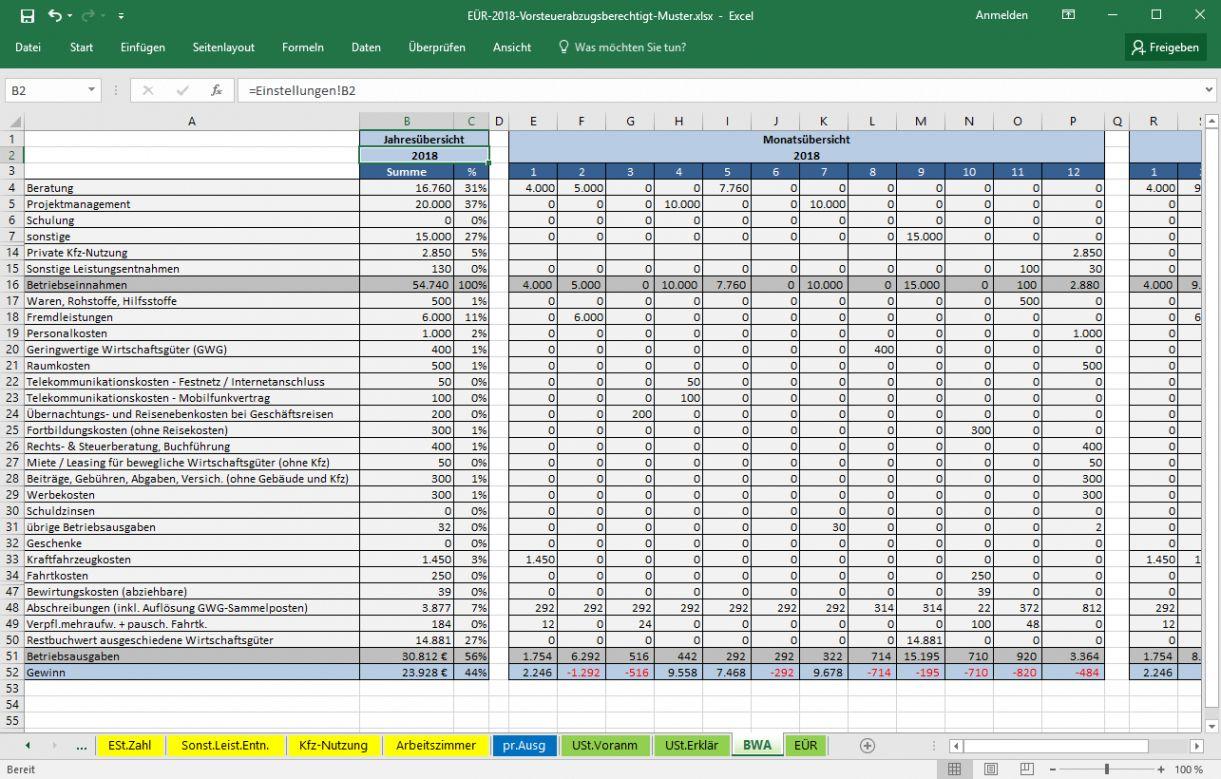 Excel Vorlage Einnahmenuberschussrechnung 12