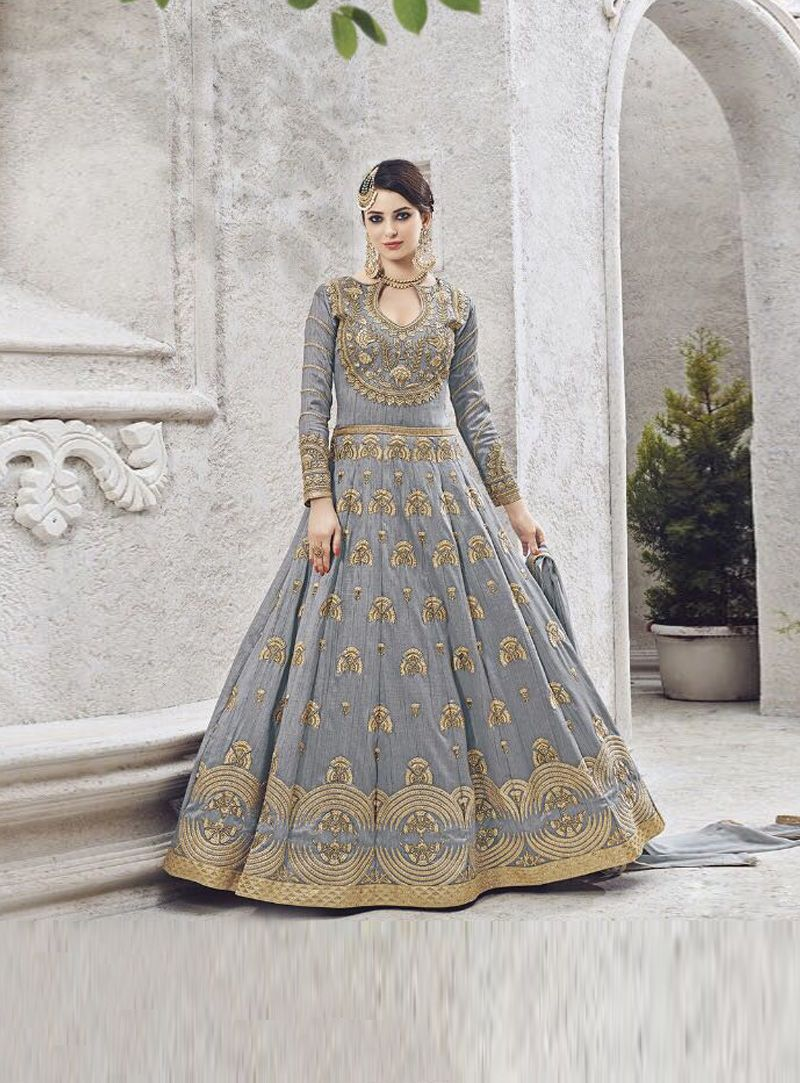 Designer Anarkali Indian Suit Heavy Bridal Dress Silk Lace Grey Gold Readymade Other Women's Clothing Women's Clothing