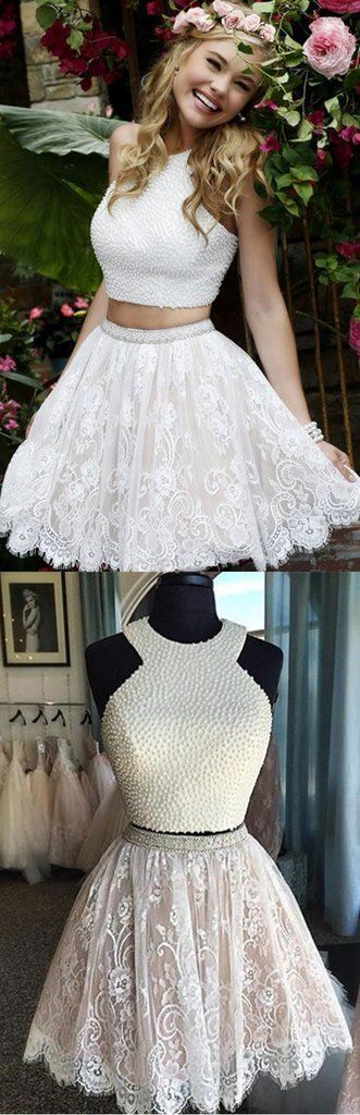 Sexy Two Pieces Halter Lace skirt Pearls bodice Cute homecoming prom dresses by MeetBeauty,…
