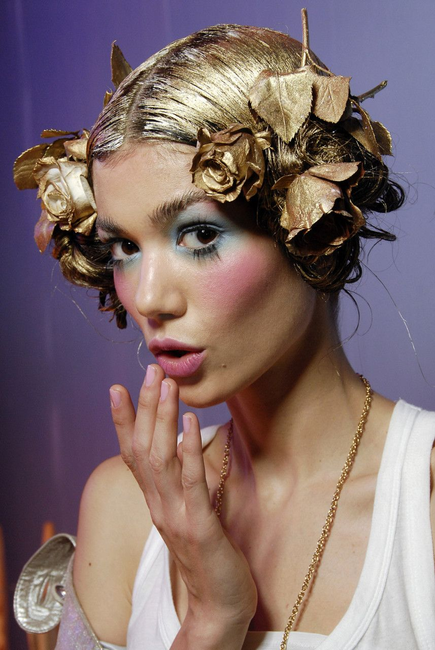John Galliano Spring 2008 ss08, makeup, fashion photography, style, flower crown, golden