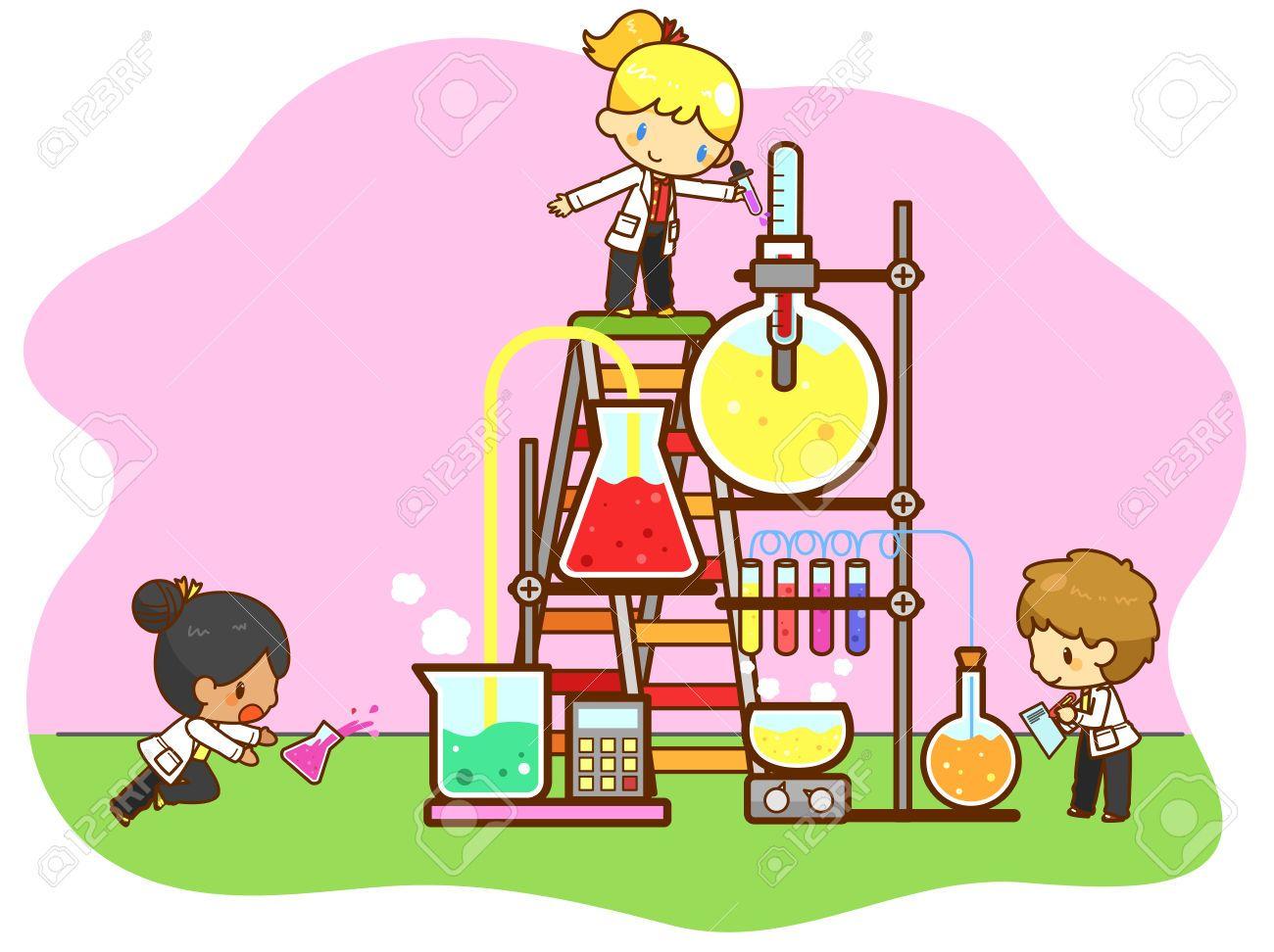 Dibujos Animados De Animales Estudiando: Los Niños De Dibujos Animados Están Estudiando Química