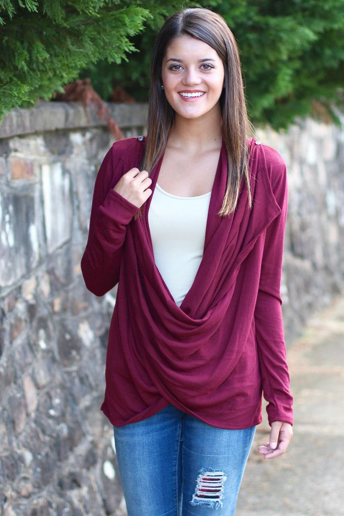 Cowl Neck / Cardigan Sweater {Wine} - The Fair Lady Boutique - 1