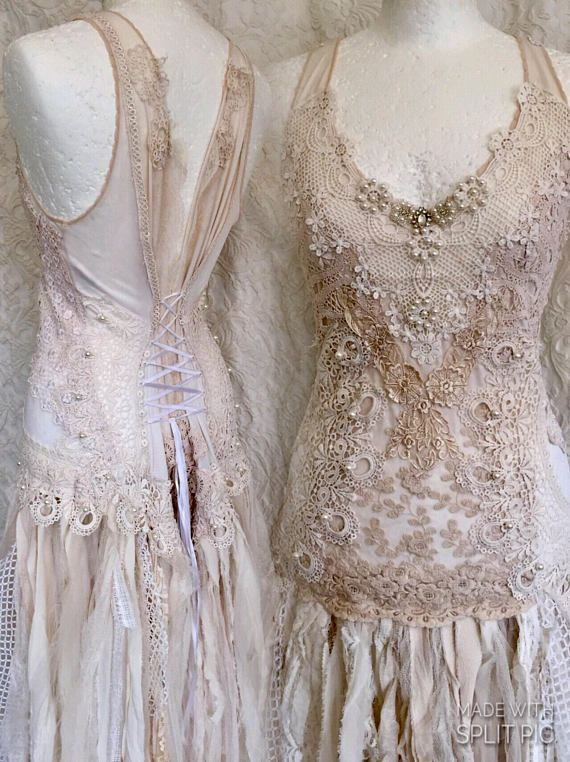 Boho Brautkleid zerfetzt aussehen alternative Hochzeitskleid ...