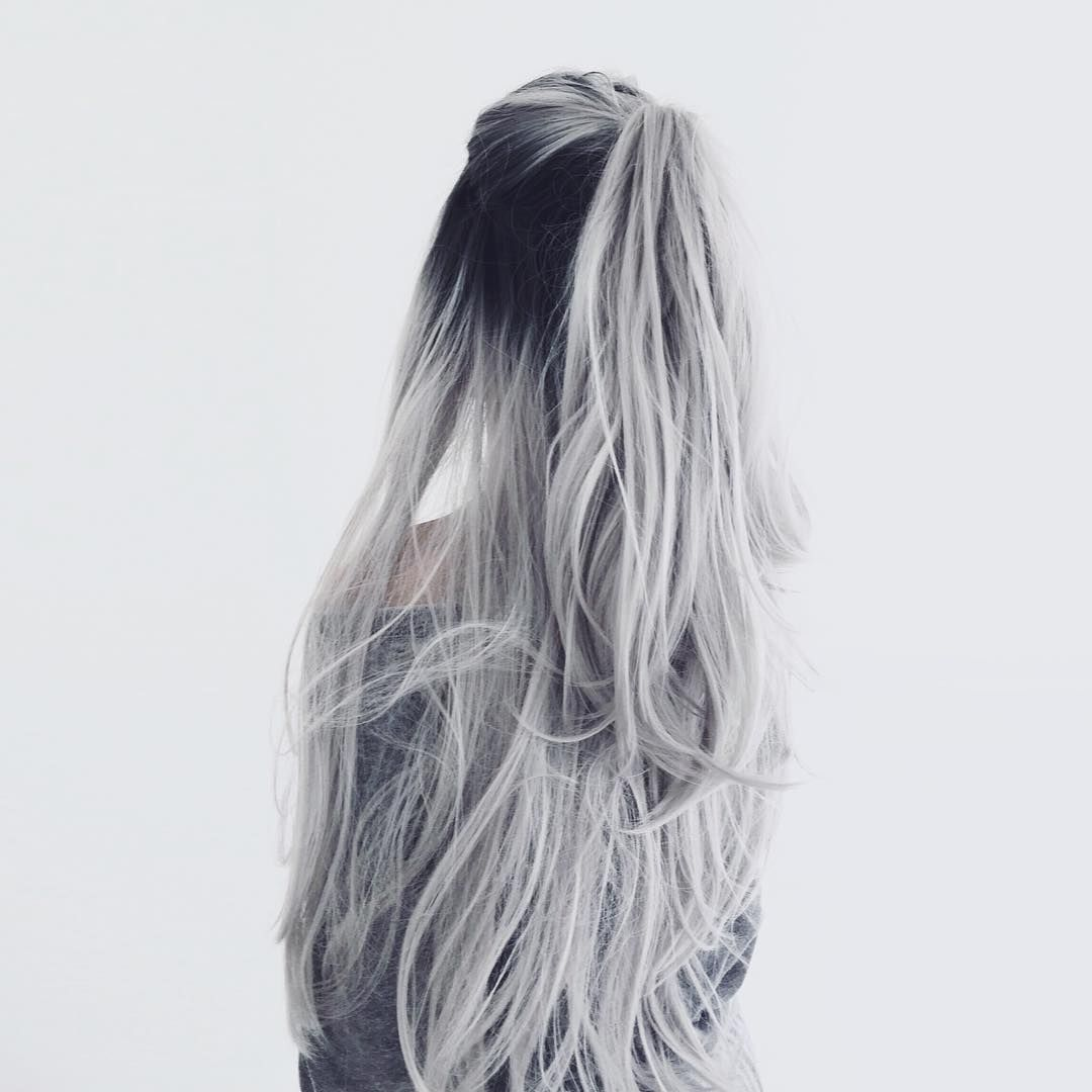 White Silver Hair Ombre Hair Color Curls Half Up Half Down