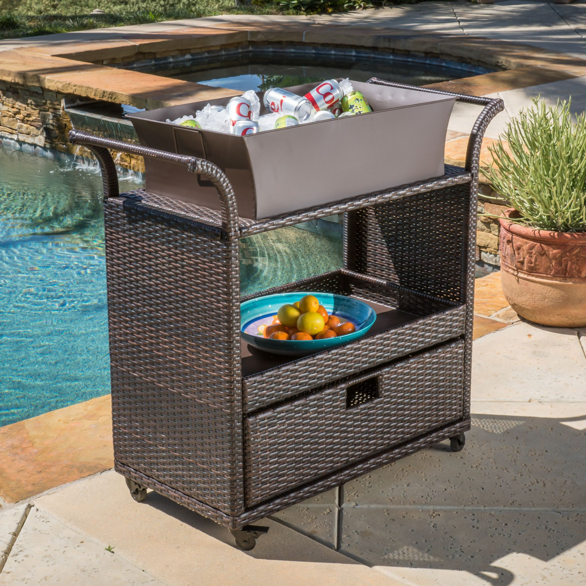 Maja Multi Brown Wicker Bar Cart Back Yard Patio