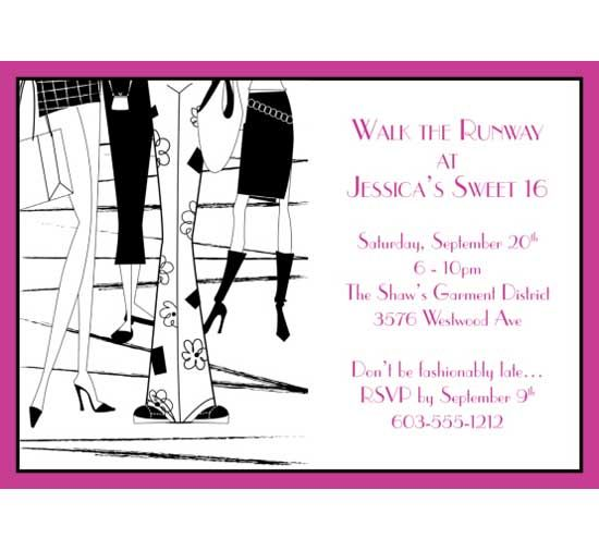 Fashion Party Theme Invitation For the fashion conscious 16 year