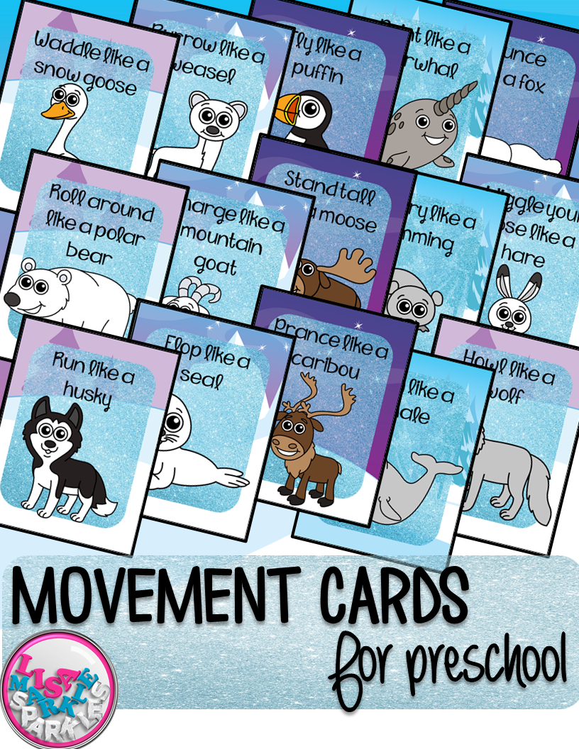 Winter Arctic Animals Movement Cards for Preschool and