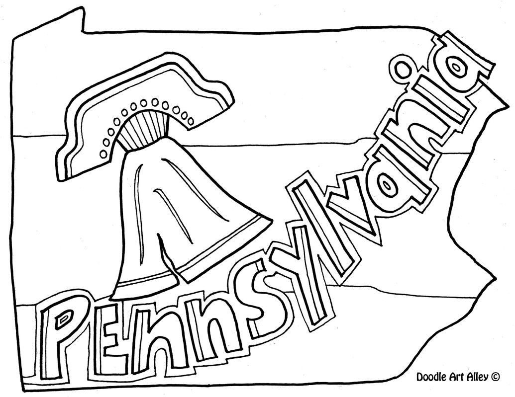 United States Map Pennsylvania Coloring Page By Doodle Art Alley