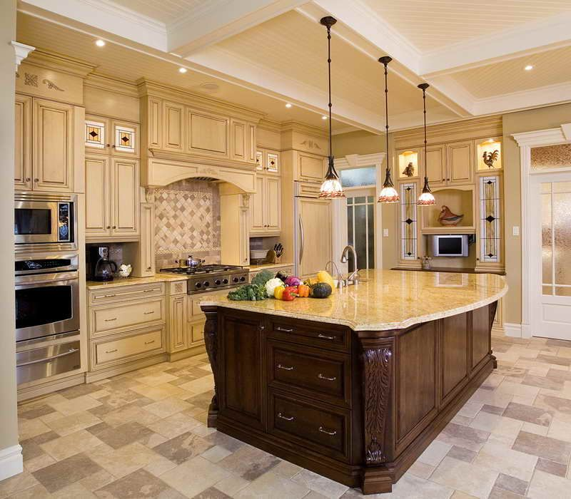 Love The Stained Glass Look On The Cabinet Doors; The Backsplash Tile, And  Also The Counter And Cabinet Color.not So Much The Floor Tile. Good Ideas
