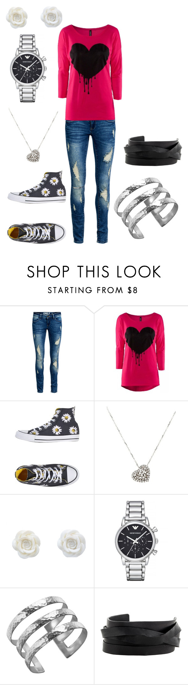 """Untitled #227"" by luna8nightshade ❤ liked on Polyvore featuring ONLY, Converse, Rina Limor, Emporio Armani, Dower & Hall, Gucci, women's clothing, women, female and woman"