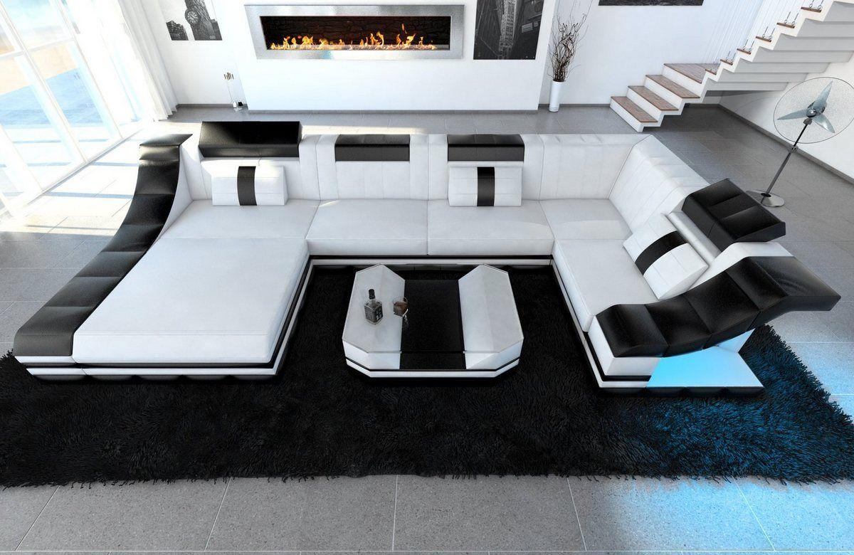 Wohnlandschaft Turino U Form In 2020 Sofa Design Luxus Couch Und Ledersofa Schwarz