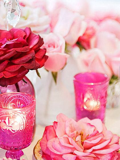 Pink glass & roses