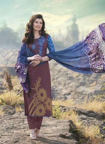 7238c153ee5d Chocolate Brown Cotton Salwar Kameez