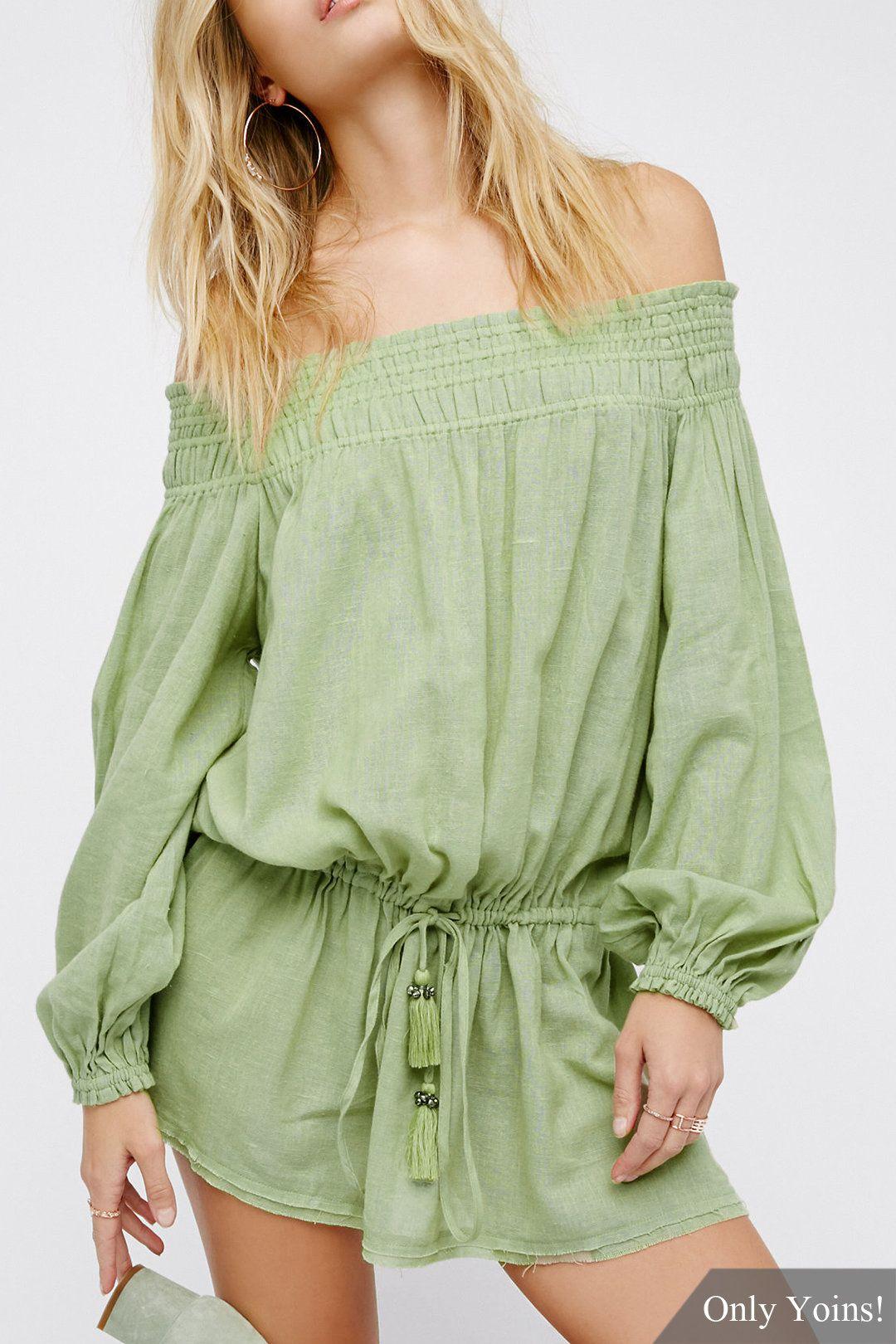 Green Fashion Off-Shoulder Drawstring Waist Long Sleeves Mini Dress