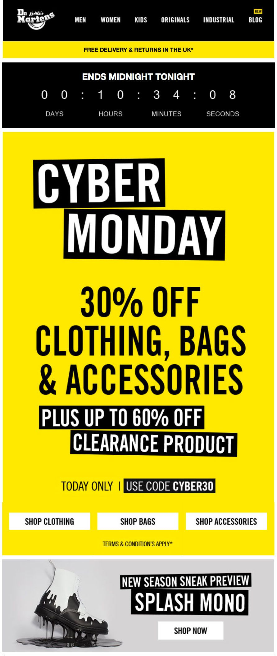 biggest discount size 7 offer discounts Dr Martens / Doc Martens Email Design Cyber Monday Email ...
