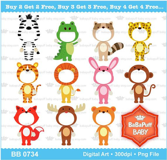 Insert Face Diy Jungle Animals Costumes Clipart By Babapuffbaby 5 00 Animal Costumes Jungle Animals Sewing Machine Projects