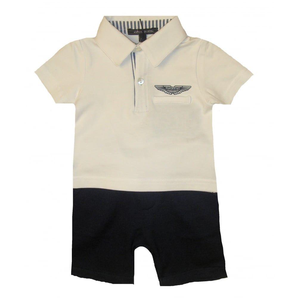 Aston Martin Baby Boys White Polo Top And Short Set Tiddlywinksbens - Aston martin clothing