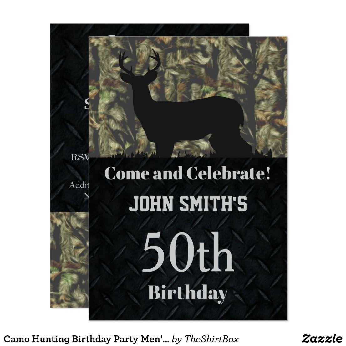 Camo Hunting Birthday Party Men\'s Invitations | Hunting birthday and ...