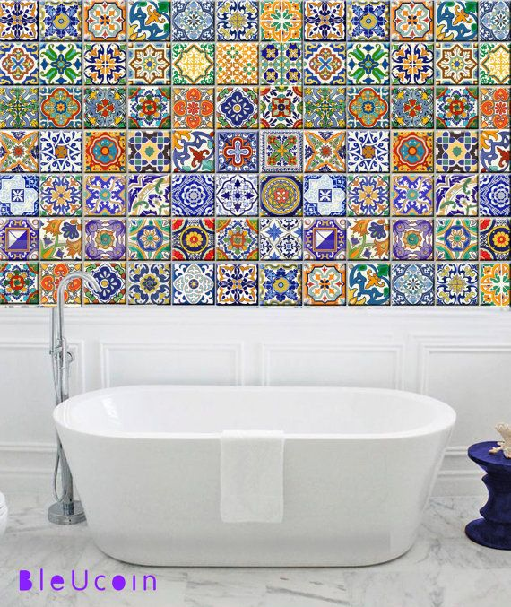 Traditional spanish talavera tiles wall by bleucoin on for Bathroom tiles spain