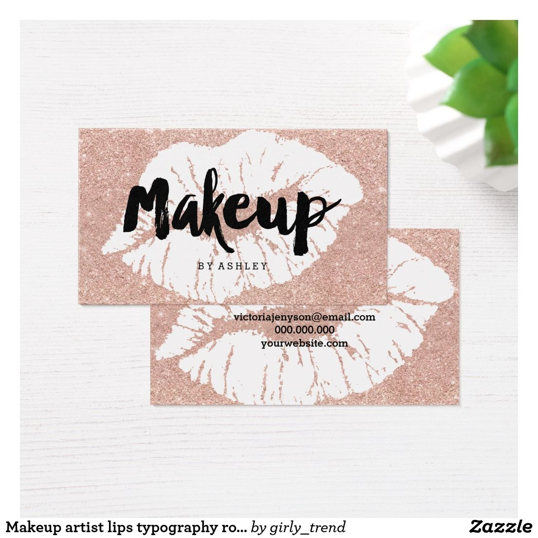 Makeup artist lips typography rose gold glitter business card ...
