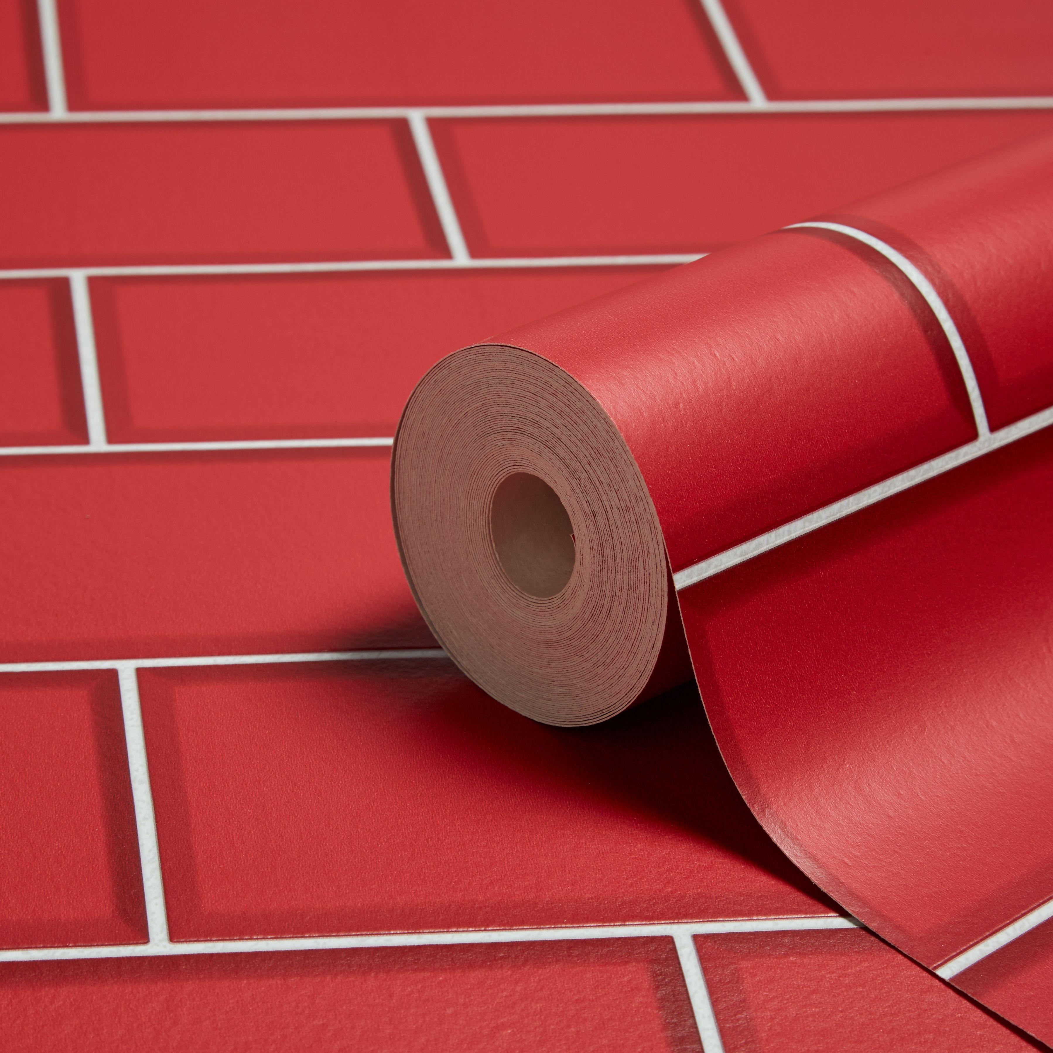 Ceramica Red Subway Tile Wallpaper