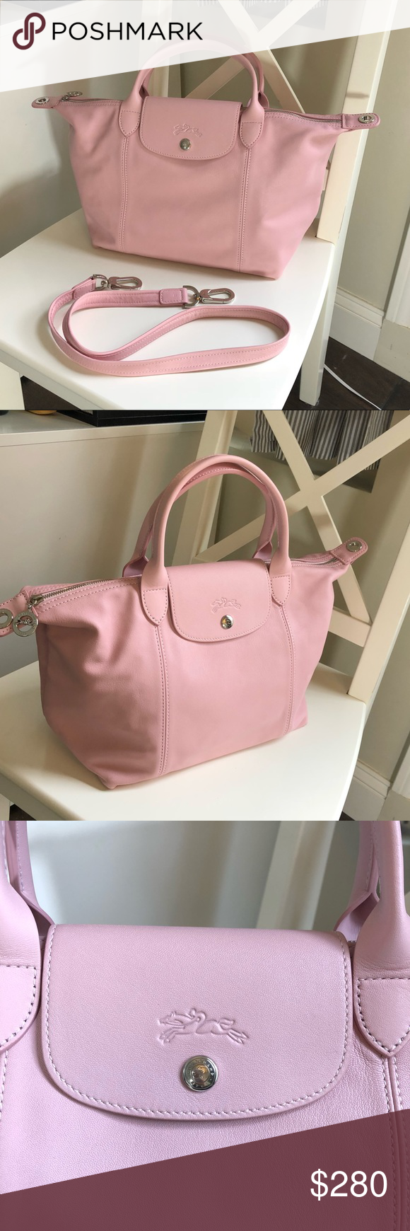 Longchamp Le Pliage Cuir leather top handle tote This is the small ...