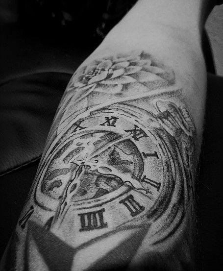 clock tattoo for men tattoos forearm tattoo   done @ Cashn In ...